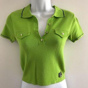 Versace Vintage 90's Green & Black Polo Shirt